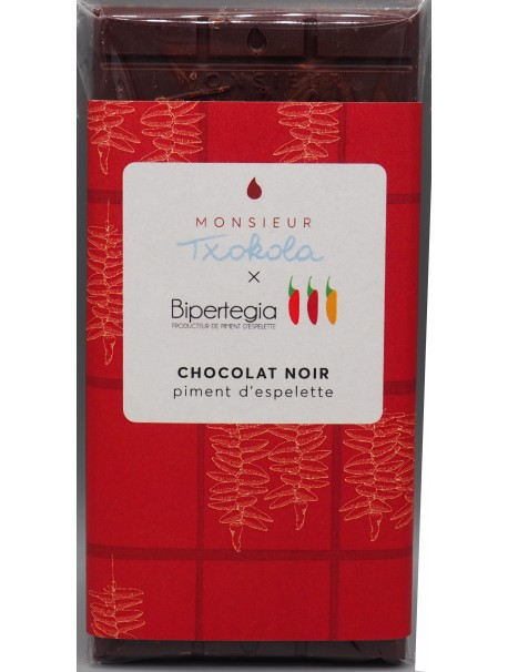 Tablette de chocolat noir au piment d'Espelette 100g